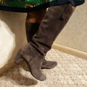Knee length suede boots